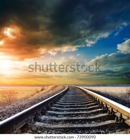 railway to horizon - stock photo