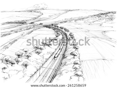 Railway to the hills -2 - stock photo
