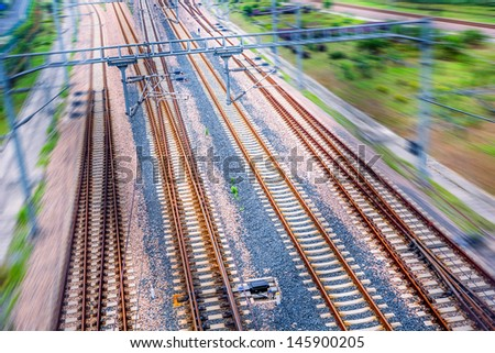 railway to the railway station at china. - stock photo