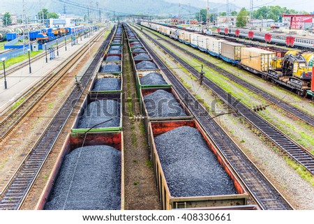 Railway. Top view of wagon with coal. - stock photo