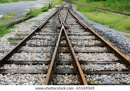 railway track at Nakhonsithammarat ,south of Thailand - stock photo