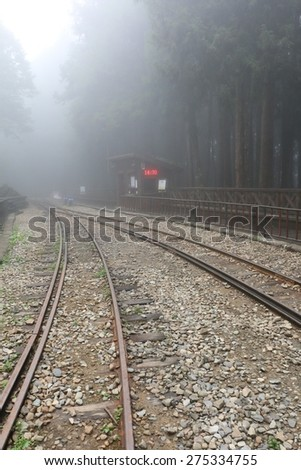 Railway Track Covered by Fog