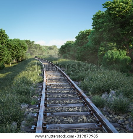 Railway track crossing rural landscape. Travel concept - stock photo