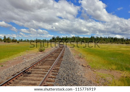 Railway Track in a Green Landscape - stock photo