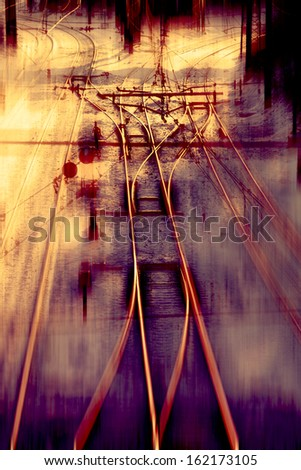 Railway track Junction with speed motion blur - stock photo