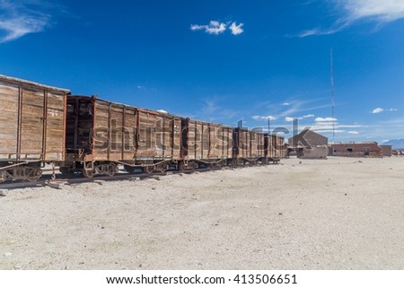 Railway track leading from Bolivia to Chile in a small village Julaca, Bolivia. This village is located in a desert of southwestern Bolivia near salt plains of Uyuni. - stock photo