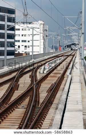 Railway track of Bangkok sky train and Station - stock photo