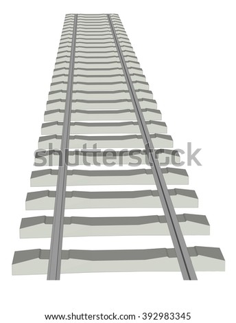 RAILWAY TRACK on white background 8