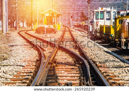 Railway track with vintage filter. - stock photo