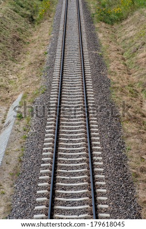Railway Tracks abstract infinity top view - stock photo