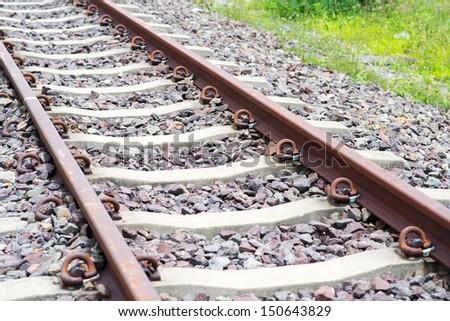 Railway tracks/Antiquity railway/Long railroad - stock photo