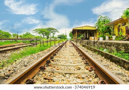 Railway tracks at train station in Trang,Thailand - stock photo