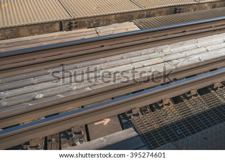 Railway tracks, close-up view - stock photo