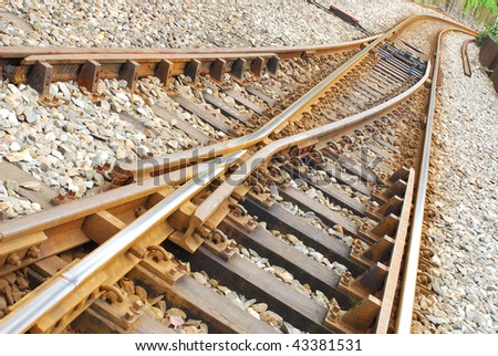 Railway Tracks crossing and going in different directions