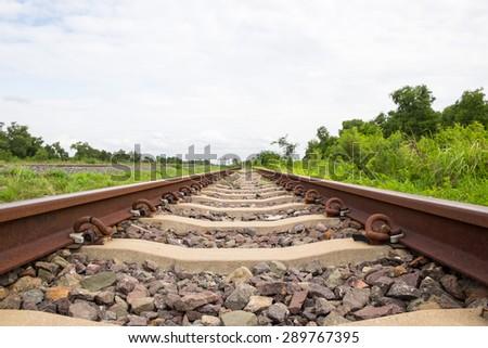 Railway tracks fragment close-up - stock photo
