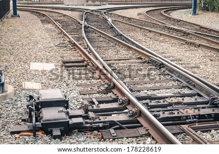 Railway tracks - Railroad at train Station in San Diego - stock photo