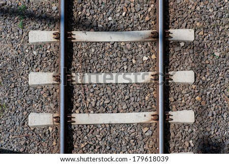 Railway Tracks top view Close up - stock photo