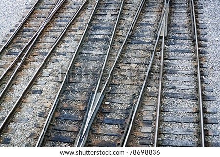 Railway, tracks with dark rocky background