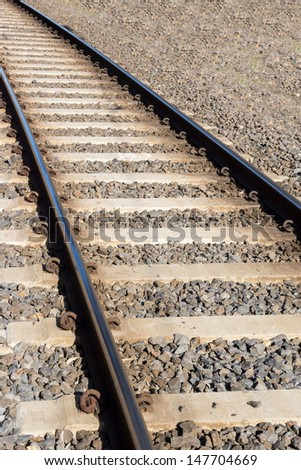 Railway tracks with gravel