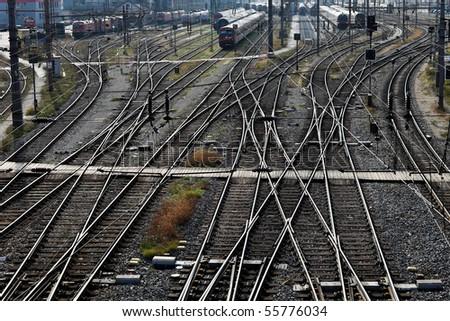 Railway tracks with switches - stock photo