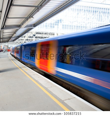 Railway Train at Station - stock photo