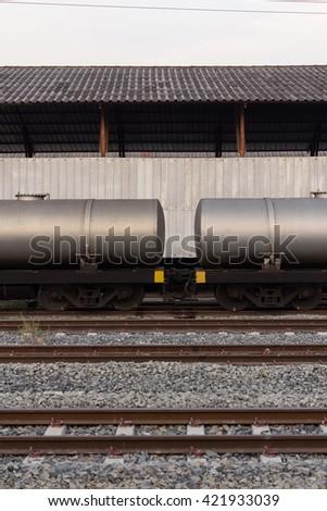 Railway transport tanks for oil - stock photo
