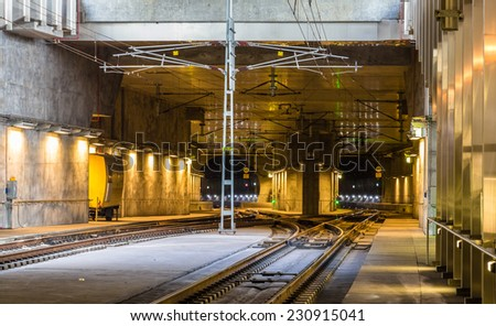 Railway tunnel under Malmo city in Sweden - stock photo
