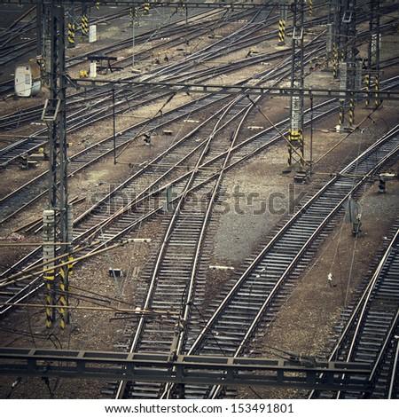 railway vintage background - stock photo