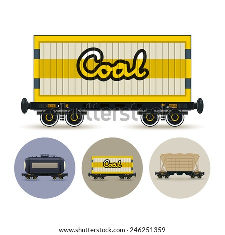 Railway wagon for coal or sand or other granular material. Set of three round colorful icons , icon  railway car the tank, icon railway wagon , icon hopper car for mass transit bulk cargo - stock photo