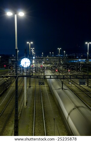 railway yard in the night - stock photo