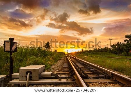 Railways in the evening - stock photo