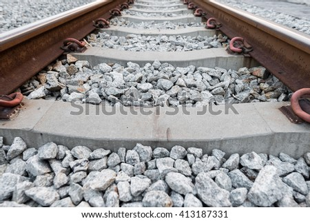 Railways system for train,closeup shot. - stock photo