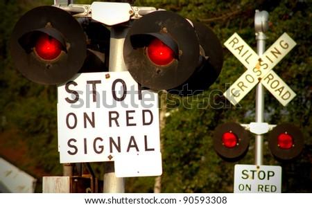 Railyard Switch Flags - stock photo