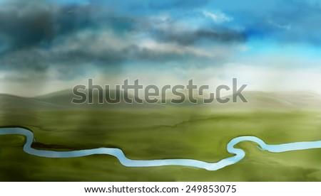 Rain across the river, a digital sketch - stock photo