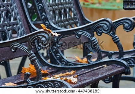 Rain and autumn leaves on a park bench in Poland