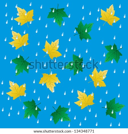 Rain and falling leaves, seamless background. Raster version. - stock photo