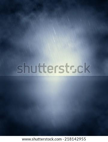 Rain and Sea Background - stock photo