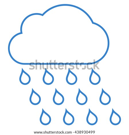 Rain Cloud glyph icon. Style is linear flat icon symbol, cobalt color, white background.