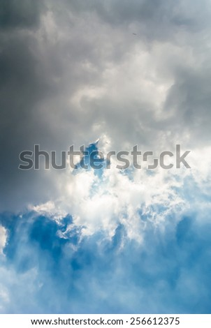 Rain cloudscape on blue sky. Rain cloudscape. - stock photo