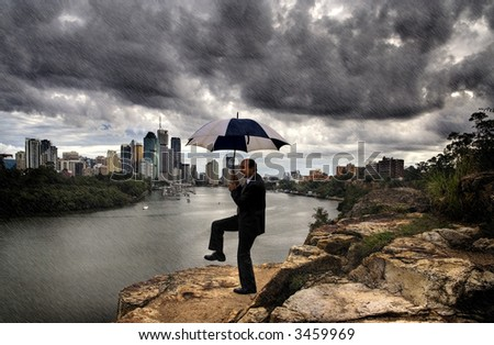 Rain dance (Image of a business man performing a business rain dance) - stock photo