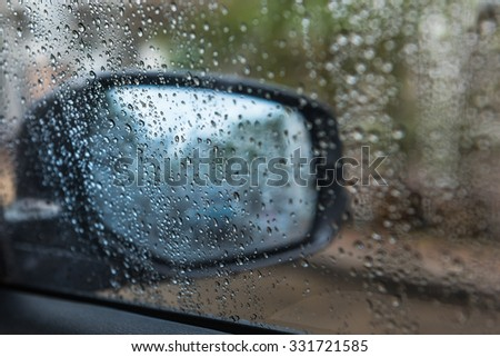 rain drop on car's rear window in raining day