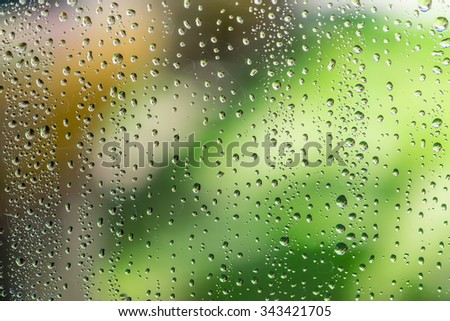 Rain drop on window glass with blur outdoor environment background.