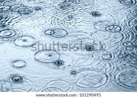 Rain drops in the water - stock photo