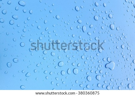 Rain drops on a waxed blue car hood