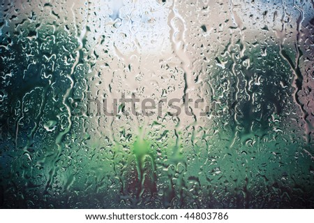 rain drops on window - stock photo