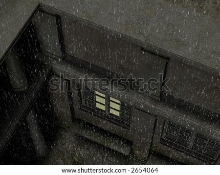 Rain falling at night on an old patio. - stock photo