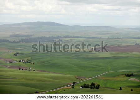 Rain falling on he green rolling farm fields of the Palouse valley in eastern Washington state.