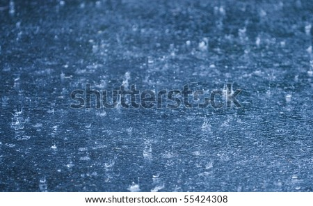 Rain falling on wet ground suitable for use as a background