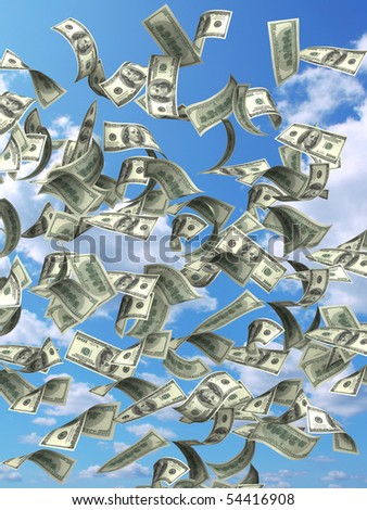 Rain from dollars - stock photo