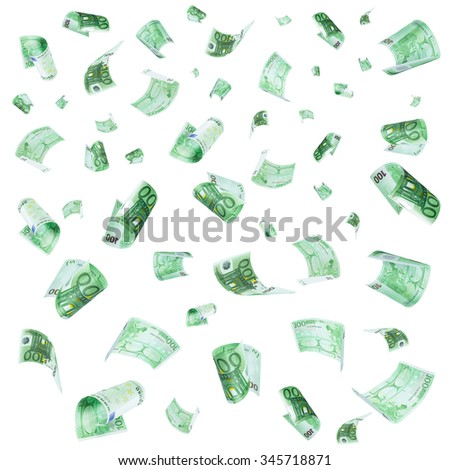 Rain from falling euro isolated on white background - stock photo